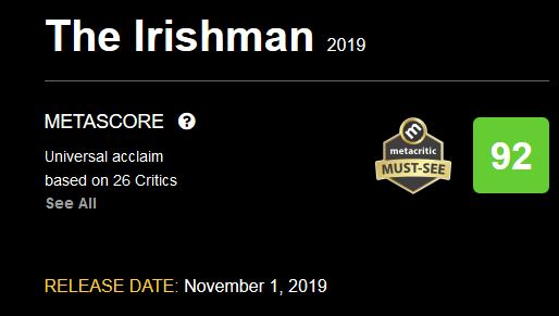 metacritic Irishman